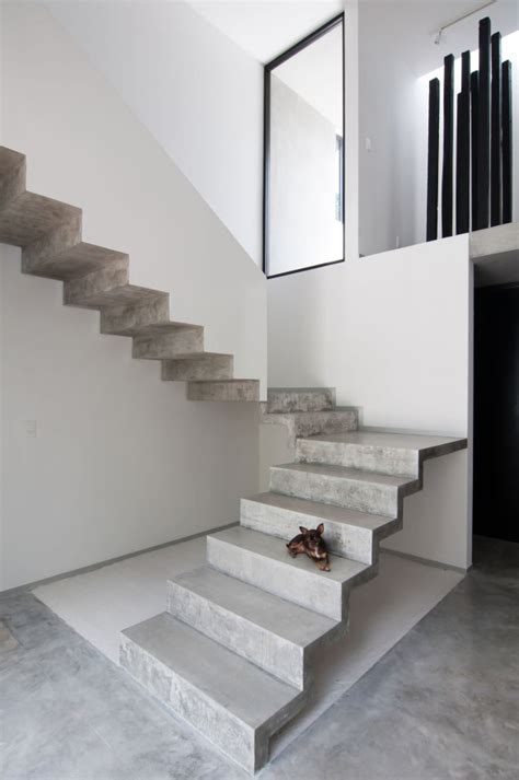 Interior Concrete Stairs Design Casa Garcias Warm Architects