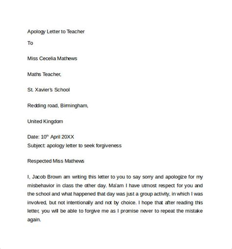 Apology Letter To For Bunking Classes Sle Apology Letter To 7 Free