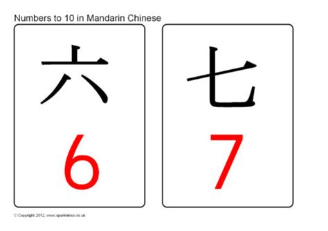 printable chinese number flash cards numbers 0 10 in mandarin chinese flash cards sb8093