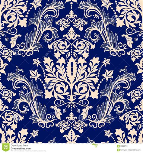 brown floral pattern border floral border ornament damask seamless pattern stock