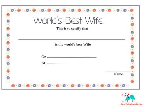 worlds best free printable world s best wife certificates