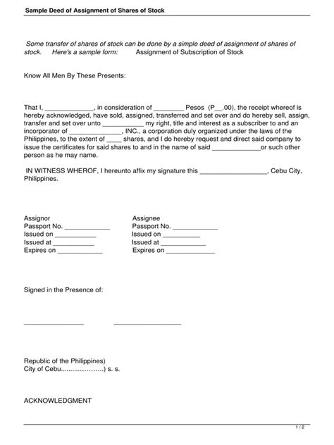 sample deed assignment shares stockpdf