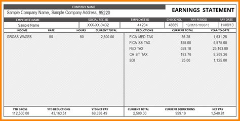 Check Stub Template For Word 9 paystub template word sle of invoice