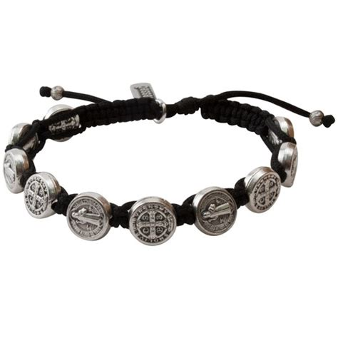 Silver Benedictine Blessing Bracelet, Black Macrame   The Catholic Company