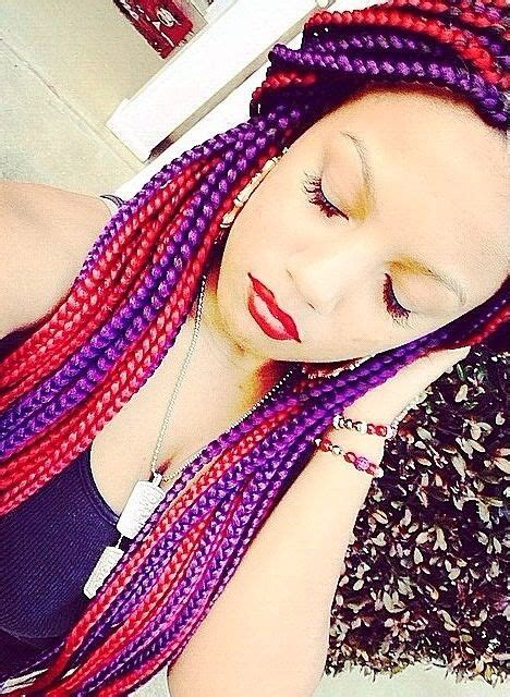 hair plats with color box braids my two favorite colors box braids