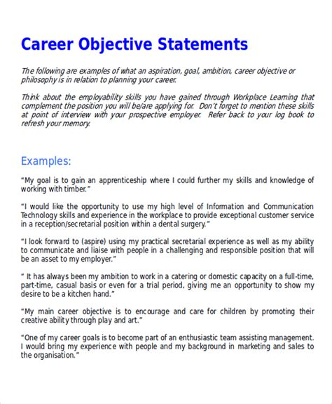 objective statements exles sle career objective statement 7 exles in word pdf
