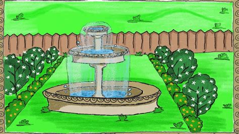 drawing  simple garden fountain   draw  fountain