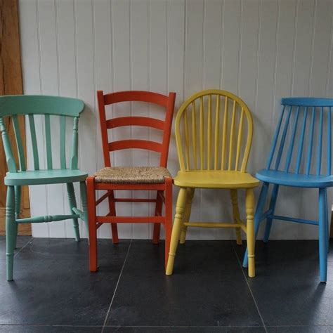 painted armchair mismatched chairs hand painted in any colours by rectory blue notonthehighstreet com