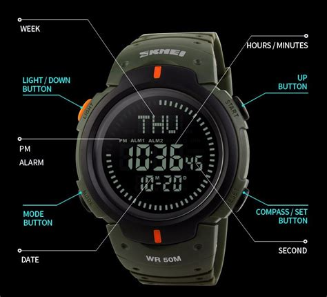 Jam Tangan Digital Pria Skmei Waterproof Anti Air 1203 Abu Abu skmei jam tangan digital pria dg1231cm army green jakartanotebook