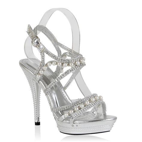 Weiße Pumps Mit Perlen by Elegante Damen Sandaletten 98023 Strass Perlen High Heels