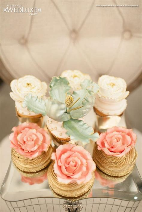 Bridal Shower Cupcake Ideas by Wedding Nail Designs Gilded Bridal Shower Cupcakes