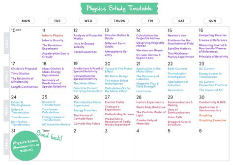 physics study timetable 2016