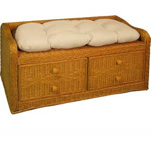Wicker Storage Bench Wicker Storage Bench With Cushion Rooms