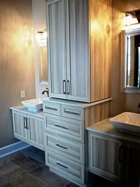 almond white double floating vanities linen tower