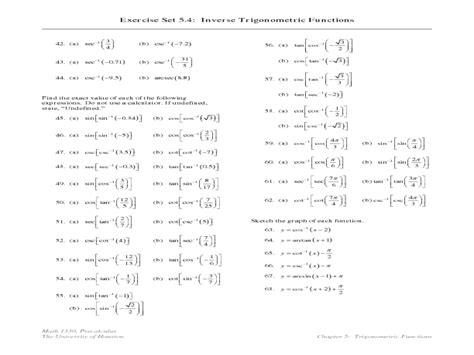 worksheet inverse trig worksheet grass fedjp worksheet