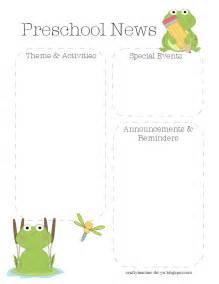free preschool newsletter templates the crafty frog preschool newsletter template