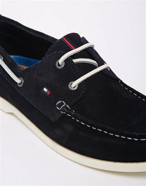 hilfiger sneakers mens hilfiger suede boat shoes in blue for lyst