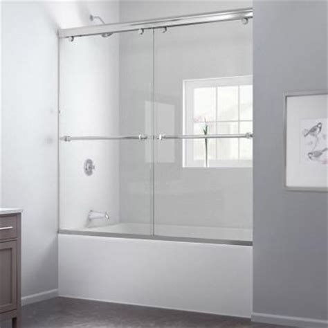 Home Depot Bathtub Shower Doors Dreamline Charisma 60 In X 58 In Frameless Bypass Tub Shower Door In Brushed Nickel Shdr