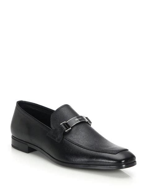 prada loafer prada saffiano logo bit loafers in black for lyst
