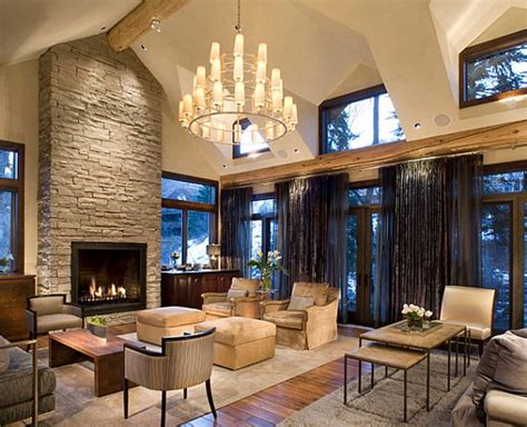 great living room designs  stone walls