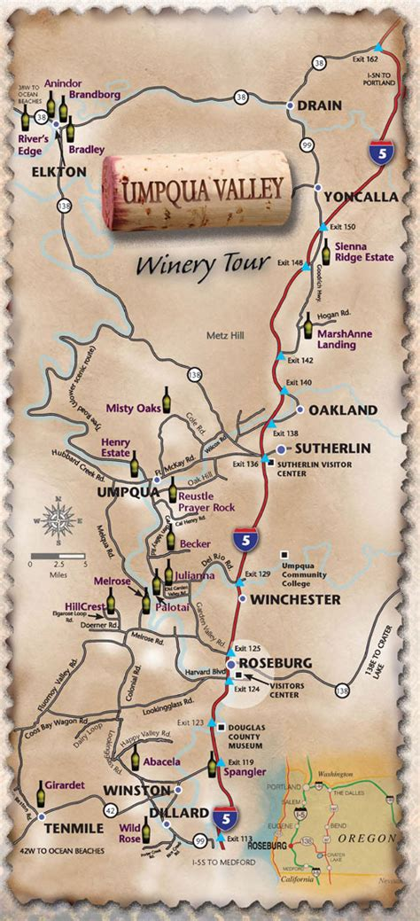 map of oregon wine country umpqua valley oregon wine tour map