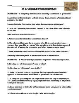 constitution scavenger hunt worksheet constitution scavenger hunt worksheet by miller tpt