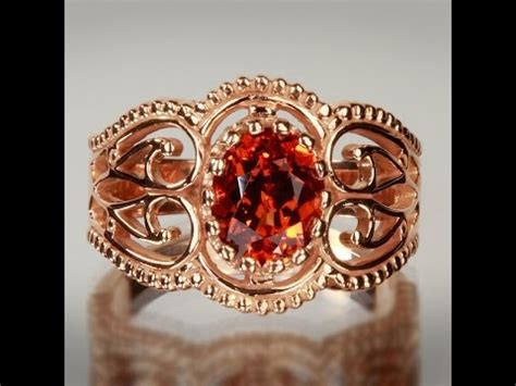 Hq Orange Garnet gold antique style spessartite garnet ring