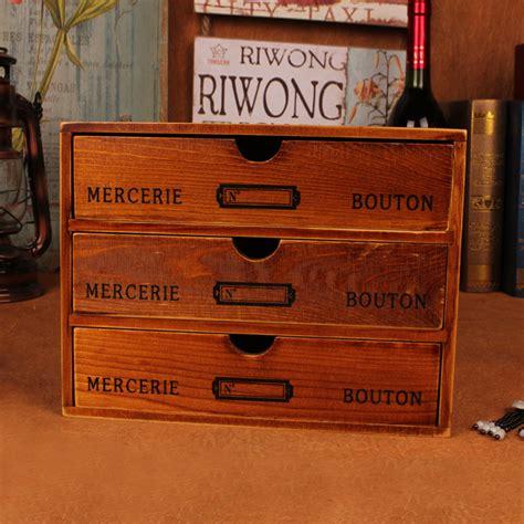 Retro Wooden Box With Drawer Phone Quality Vintage European Desktop Storage Box Cabinet