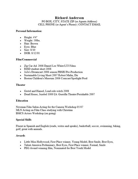 child actor resume sles free child acting resume sle ms word
