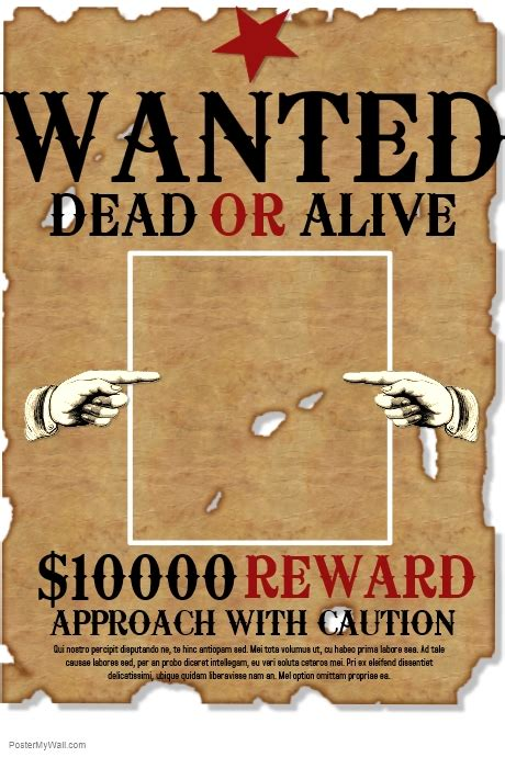 Wanted Template Postermywall Western Wanted Poster Template