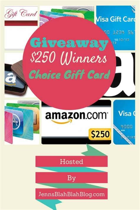 Gift Card Giveaway - 250 winners choice gift card giveaway ends 9 5 everything mommyhood