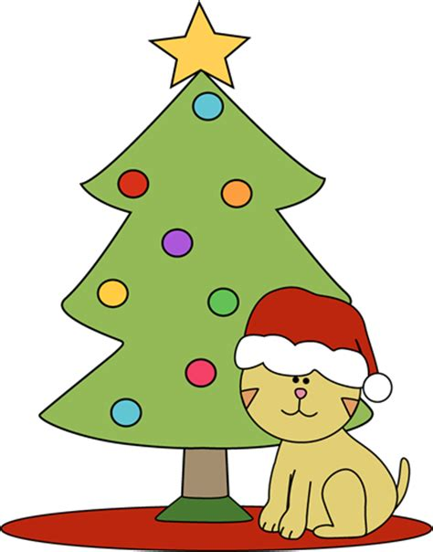 cat sitting in front of christmas tree clip art cat