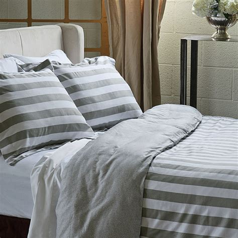 gray and white striped comforter west elm striped bedding look 4 less