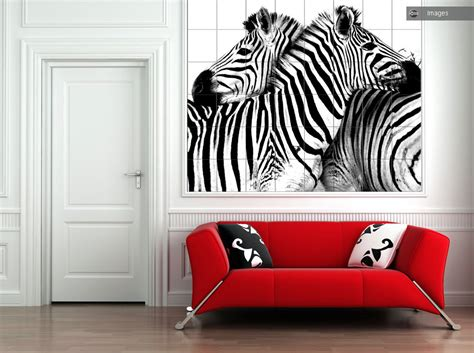 Zebra Print Room Decor Photo Tiles For Kitchens And Bathrooms
