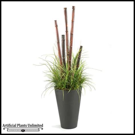 Grass Planter by 6 Bamboo Poles And Grasses In Resin Planter