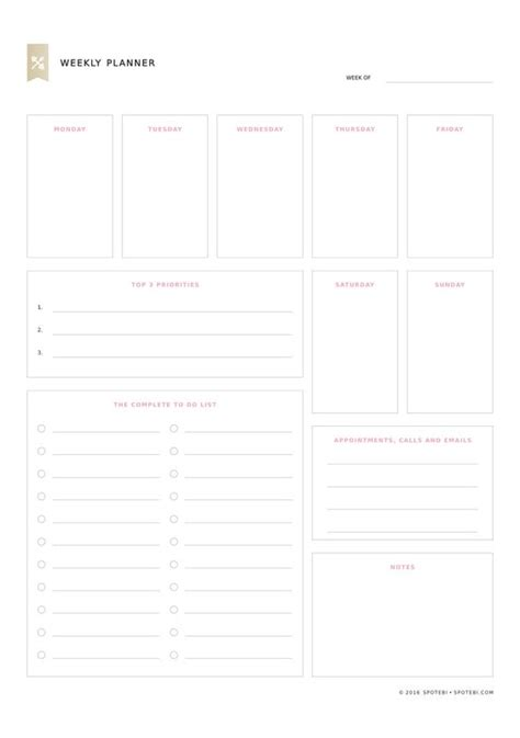 weekly priorities template the world s catalog of ideas