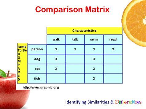 The Comparison by Comparison Matrix Identifying Similarities