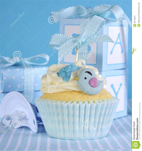 Cle1256 Piyama Baby Motif Boys New Born blue theme baby boy cupcake with birds stock image image 40718075