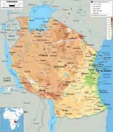 Tanzania Africa Map by Physical Map Of Tanzania Ezilon Maps