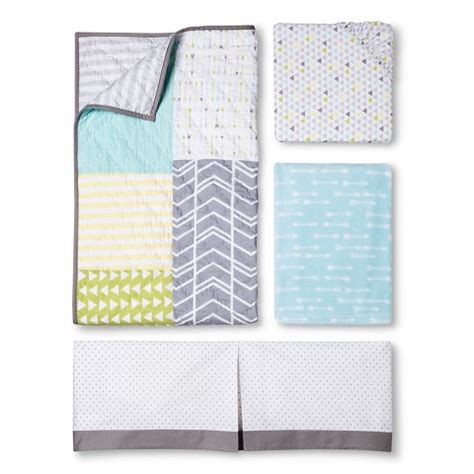 Patchwork Crib Bedding by Circo 4pc Crib Bedding Set Geo Patchwork Target