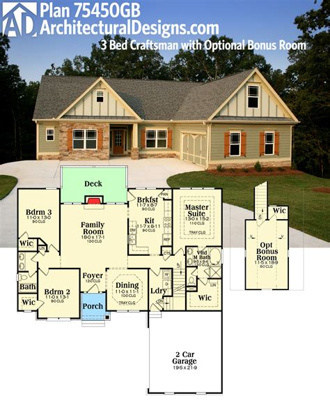 house over garage floor plans plan 75450gb 3 bed craftsman with optional bonus room