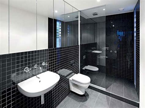 Modern Black Bathroom Minimalist Interior Decor Coupled With Black Bathroom Ideas For Modern Bathroom Furnished With