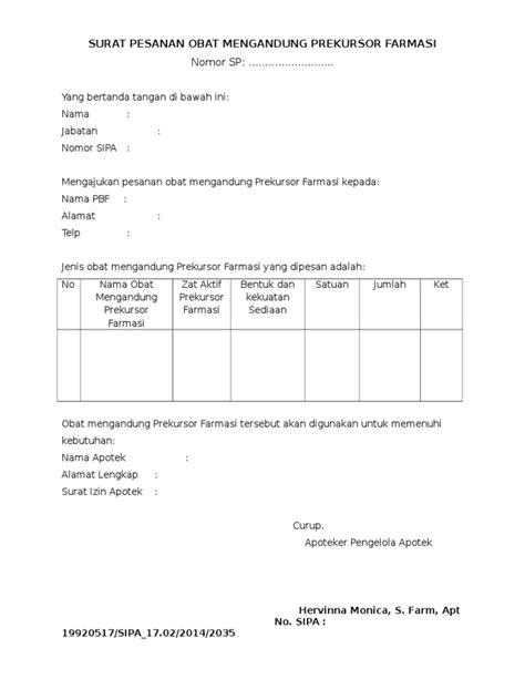 Pesanan Felicia Ke 2 surat pesanan obat mengandung prekursor farmasi