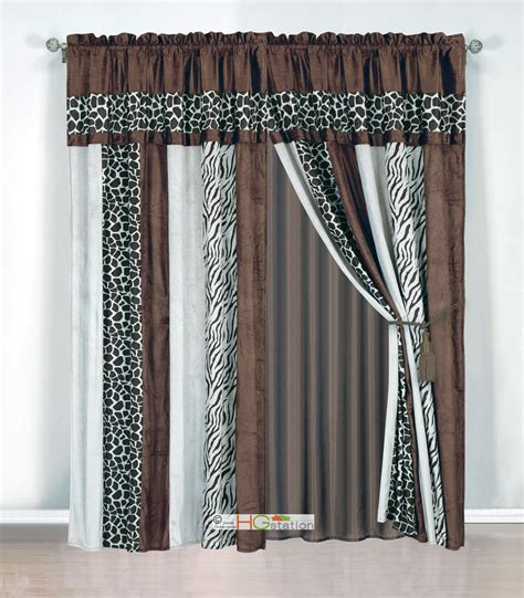 Brown Valance Curtains 4 Pc Soft Faux Fur Safari Striped Zebra Giraffe Curtain Set Coffee Brown Valance Ebay