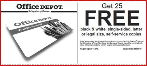 Can You Stack Office Depot Coupons Office Depot 25 Free Black And White Copies Money