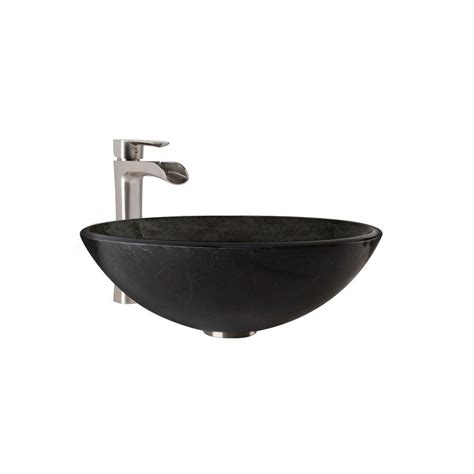 vessel sink and faucet sets vigo glass vessel bathroom sink in gray onyx and niko
