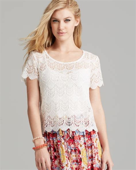 Sleeved Lace Top minkpink top sleeve lace in white