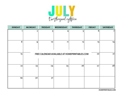 printable calendar in color blank calendar for july 2018 christopherbathum co