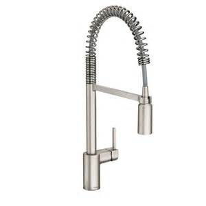 kitchen faucets stainless steel shop moen align spot resist stainless steel 1 handle pre rinse kitchen faucet at lowes