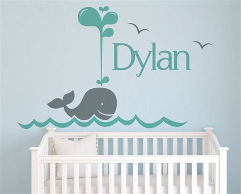 Name Wall Decals For Nursery Name Wall Decal Whale Nursery Wall Decals Personalized